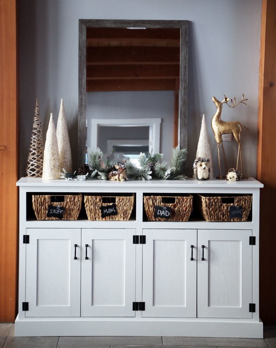 Picture of: Entryway Console With Open Shelves Double Width Ana White