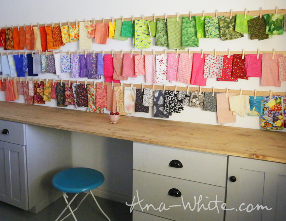 Ana white clothespin fabric storage rails diy projects for Fabric storage
