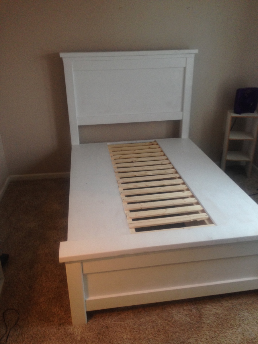 Simple DIY Farmhouse bed with storage drawers in twin and full sizes Perfect for adding storage to kids rooms