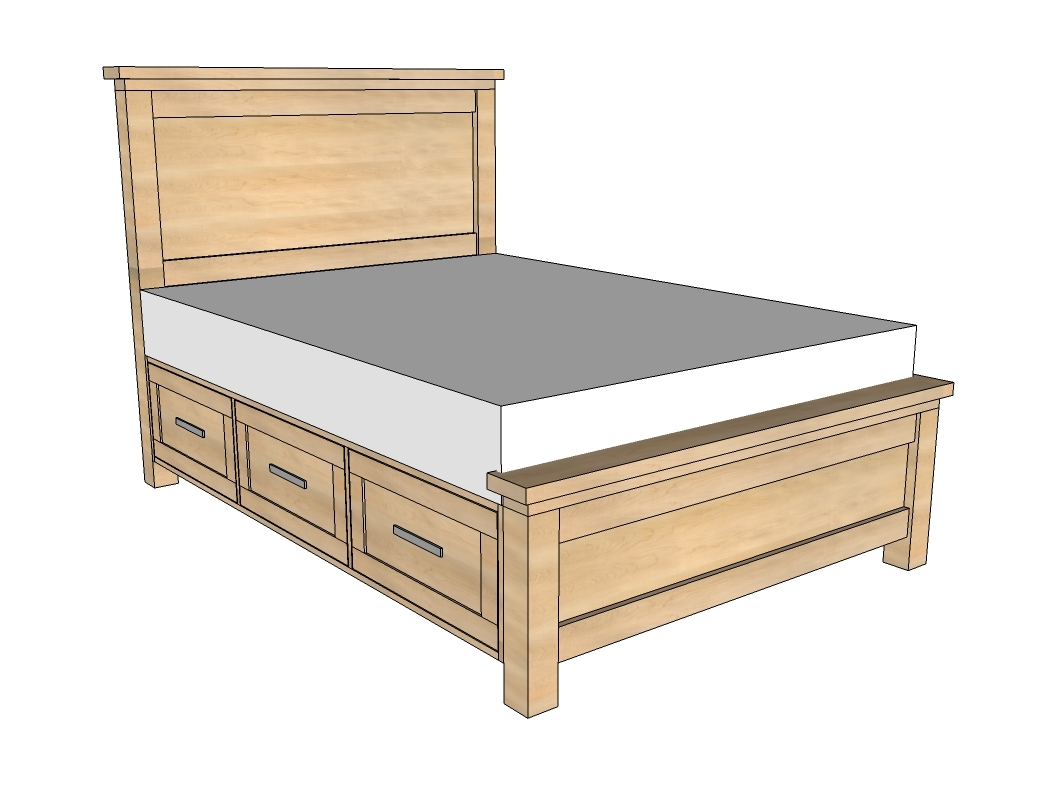 ana white farmhouse storage bed with storage drawers