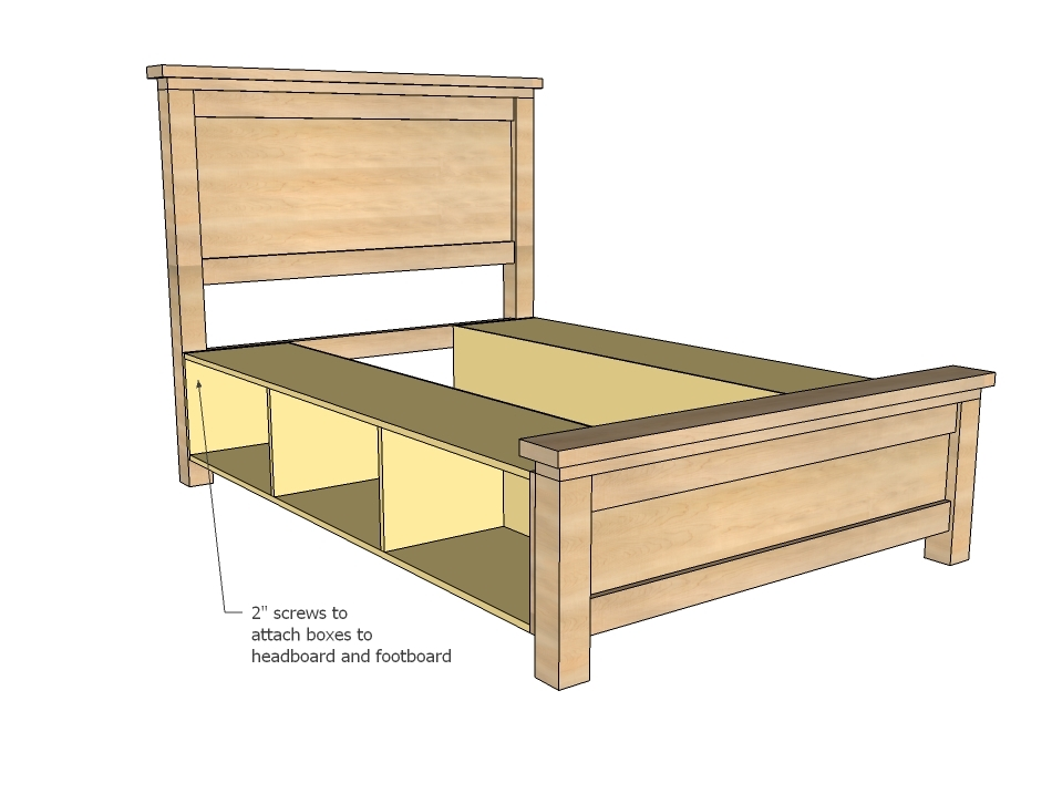 Farmhouse Storage Bed With Drawers Queen Ana White