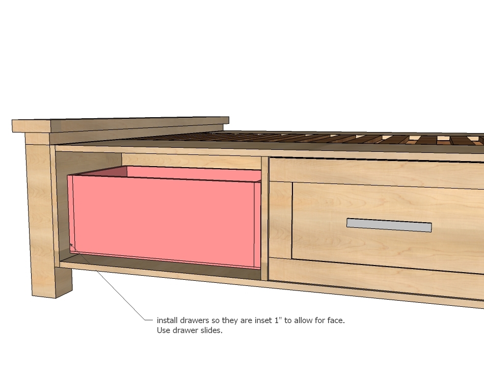 How to build a twin platform bed with drawers quick woodworking projects - Plans for platform bed with storage drawers ...