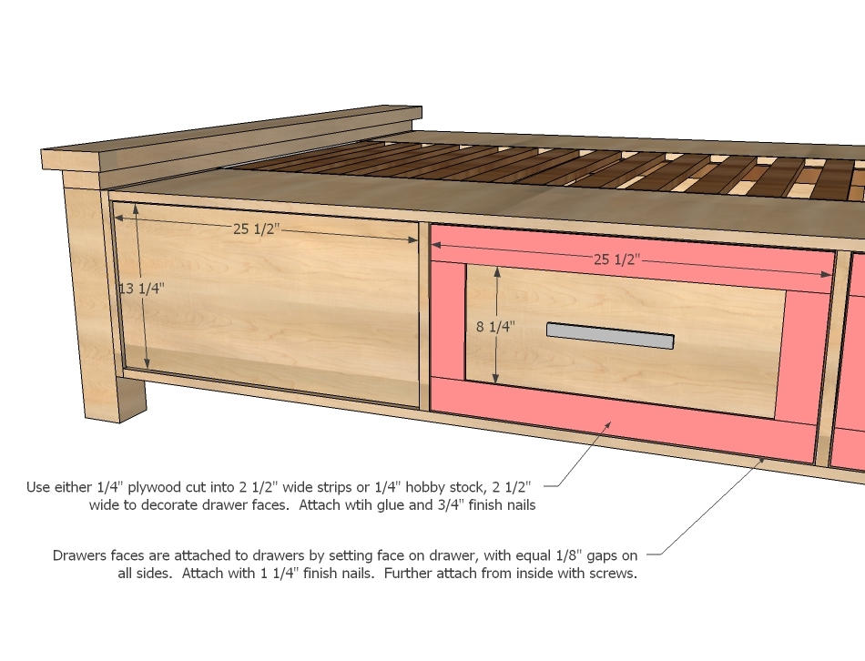 How to build a platform bed with drawers plans quick woodworking projects - Plans for platform bed with storage drawers ...