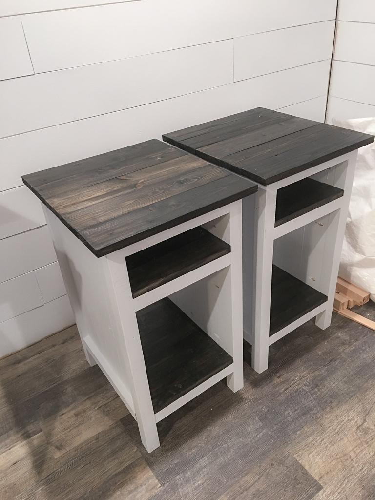 Picture of: Planked Wood Bedside Table With Shelves Ana White
