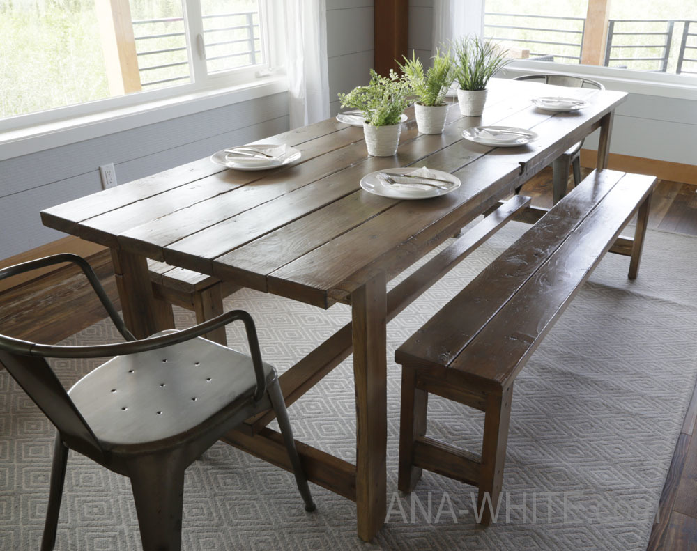 Ana White Beginner Farm Table 2 Tools 50 Lumber Diy Projects - Dining-room-tables-plans