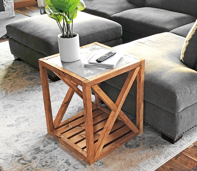 Modern Rustic X End Table Inspired By Pottery Barn Grove
