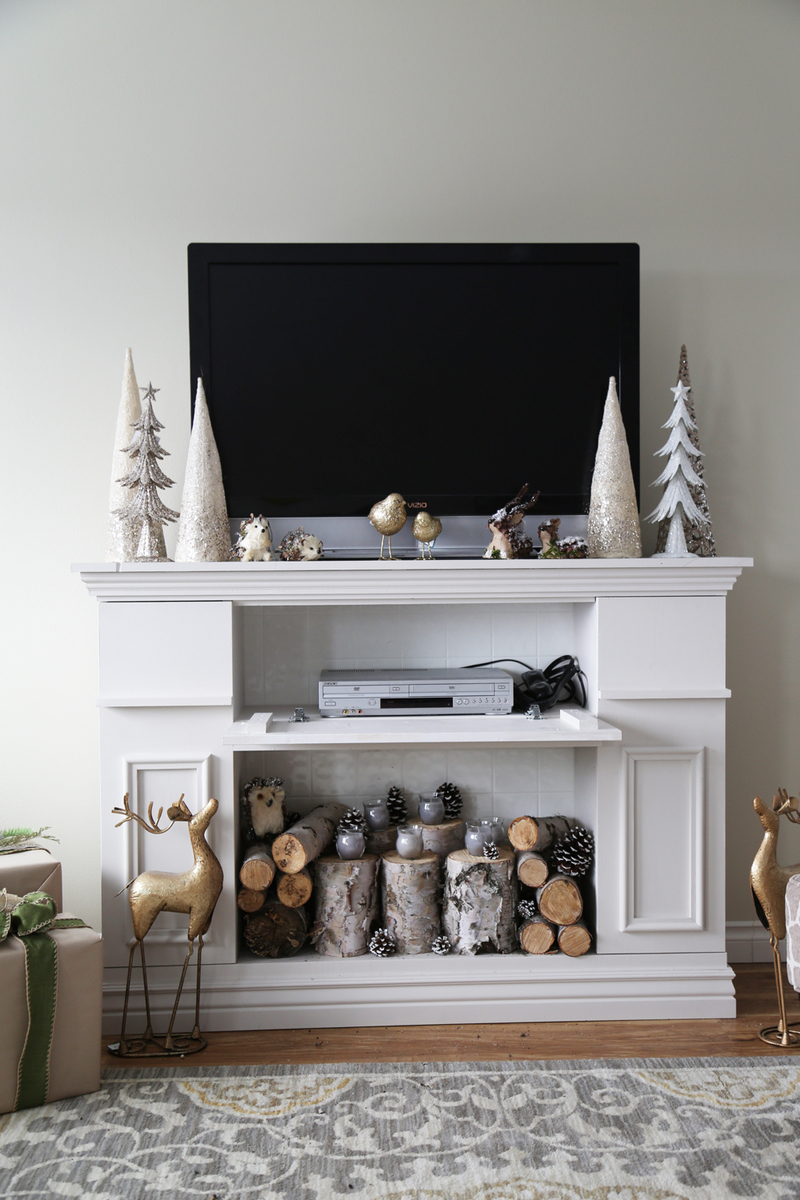 Ana white faux fireplace mantle with hidden storage for Dekokamin ikea