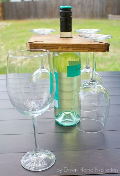Diy Wine Bottle And Glass Holder Featuring Kristen At Down