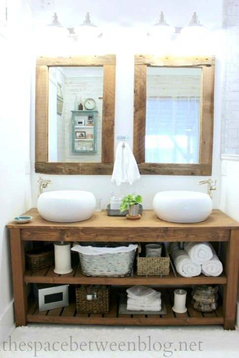Ana white diy wood vanity feature by the space between diy projects - Bathroom vanity small space plan ...