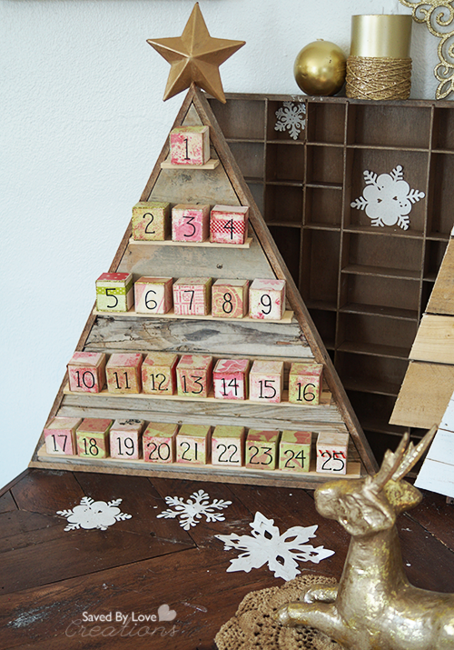 diy wood advent calendar feature by saved by love creations - Wooden Christmas Advent Calendar