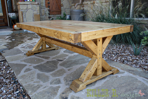 Ana white chunky x base table featuring killer b for Farmhouse table plans with x legs