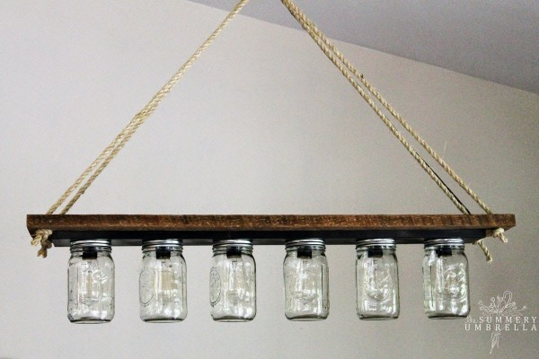 Upcycled Vanity Light Strip To Hanging Pendant By The Summery Umbrella