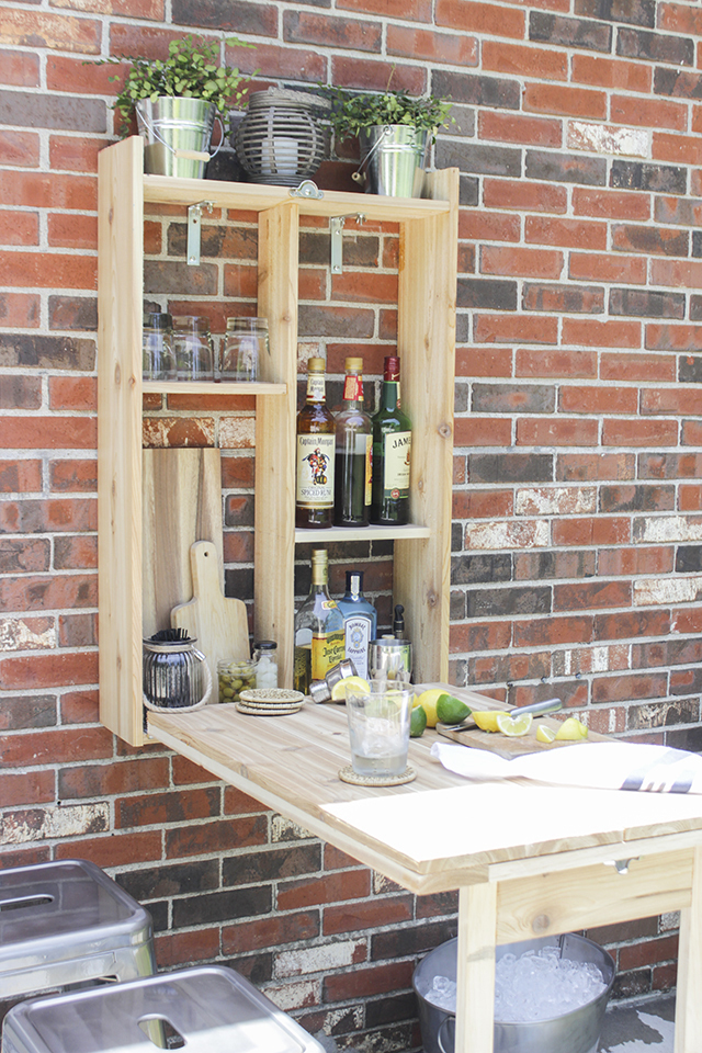 Ana white outdoor murphy bar featuring shades of blue interiors diy projects - Bar built into wall ...