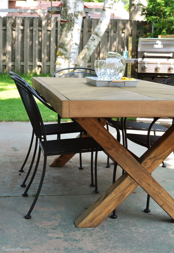 Herringbone Top Outdoor Table Featuring Cherished Bliss
