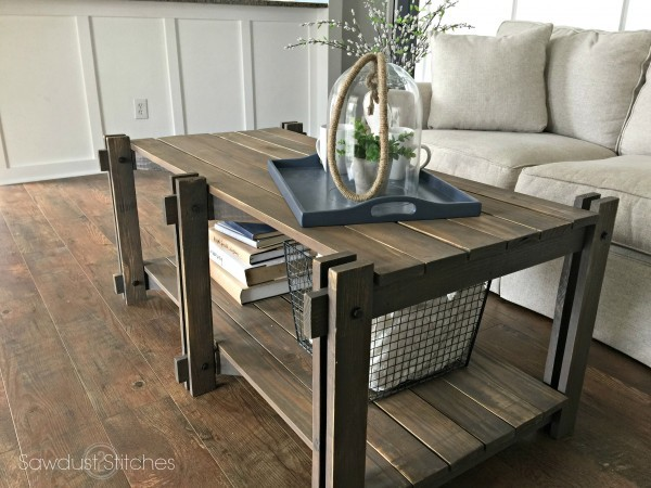 Rustic Farmhouse Coffee Table Featuring Sawdust 2 Sches