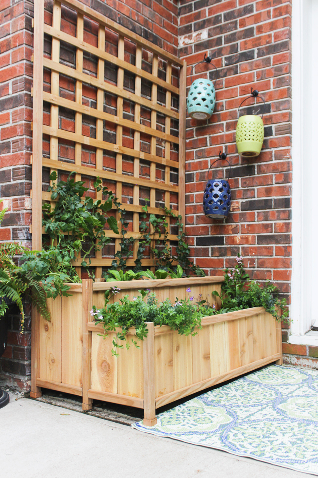 Tiered Planter Trellis Featuring Shades Of Blue Interiors
