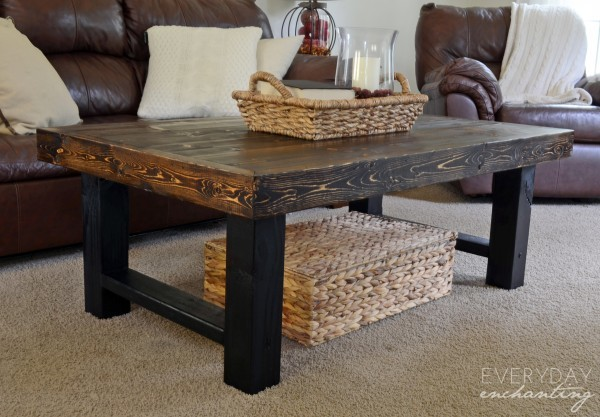 Superb Simple Wood Slab Coffee Table Featuring Remodelaholic And Bralicious Painted Fabric Chair Ideas Braliciousco