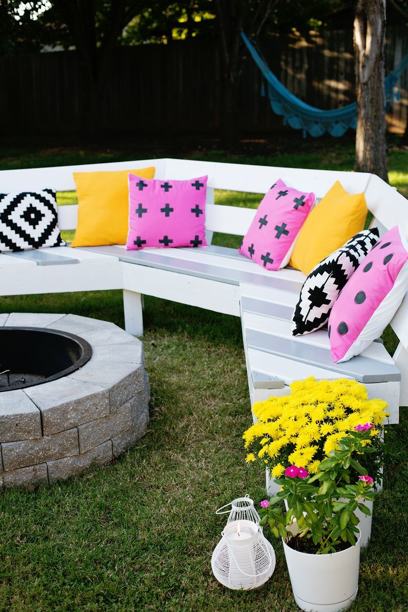 Admirable Diy Curved Fire Pit Bench Featuring A Beautiful Mess Ana Bralicious Painted Fabric Chair Ideas Braliciousco