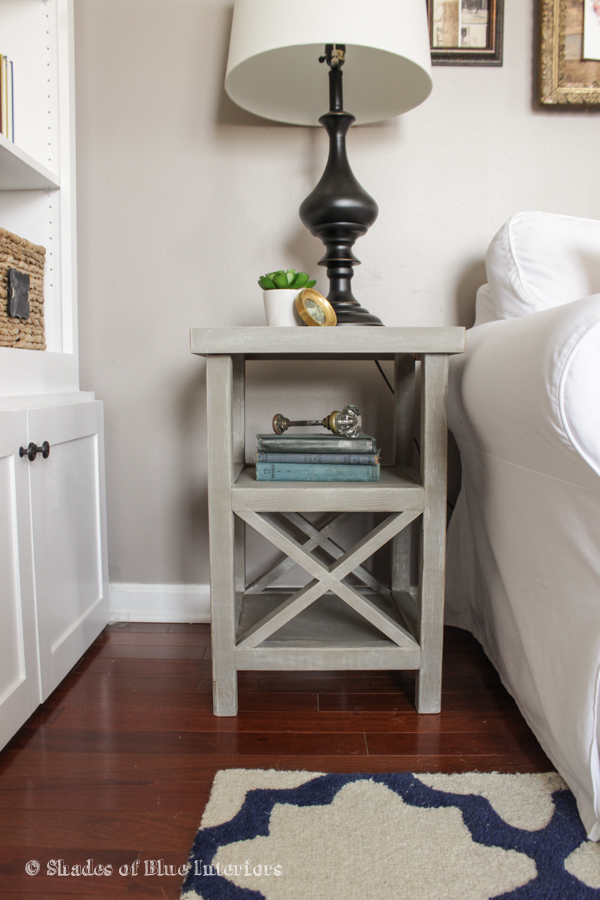 Ana white small x end table featuring shades of blue for Simple nightstand designs