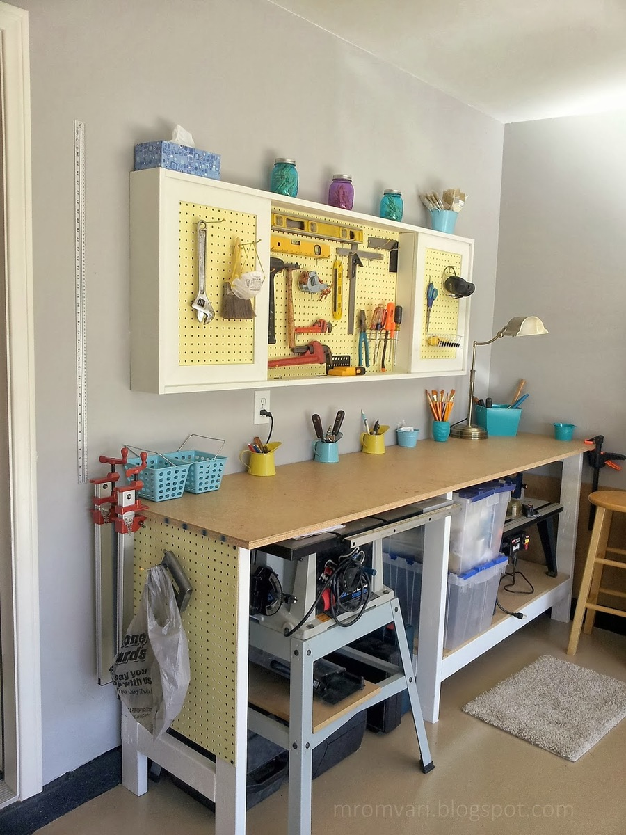 Pegboard Cabinet and Simple Workbench - Featuring Remodelaholic & Ana White | Pegboard Cabinet and Simple Workbench - Featuring ...