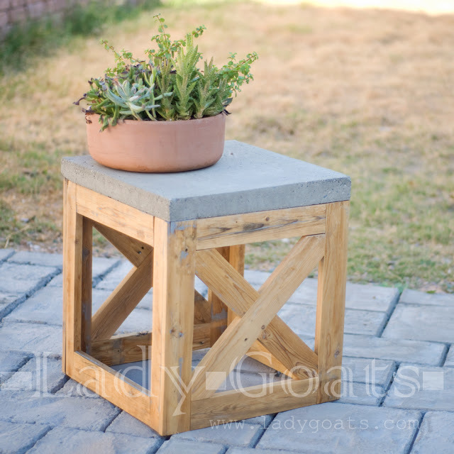 Concrete And Wood X Stool/Side Table   Featuring Lady Goats
