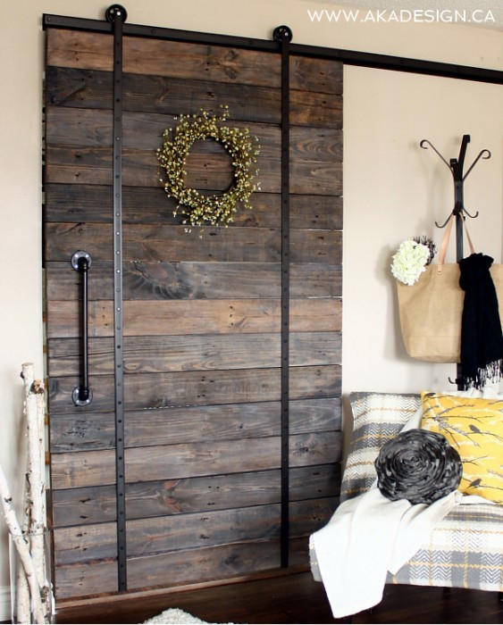 Ana White DIY Pallet Sliding Barn Door and DIY Track Feature