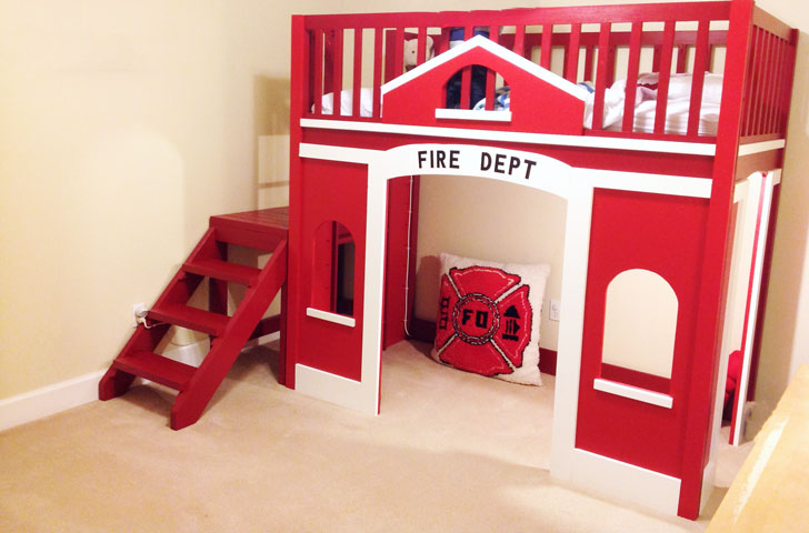 fire station loft bed fireman bedroom theme