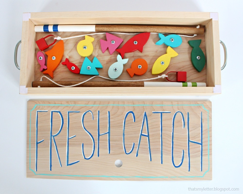 ... game with wood pole and wood fish. Free DIY plans by Ana-white.com