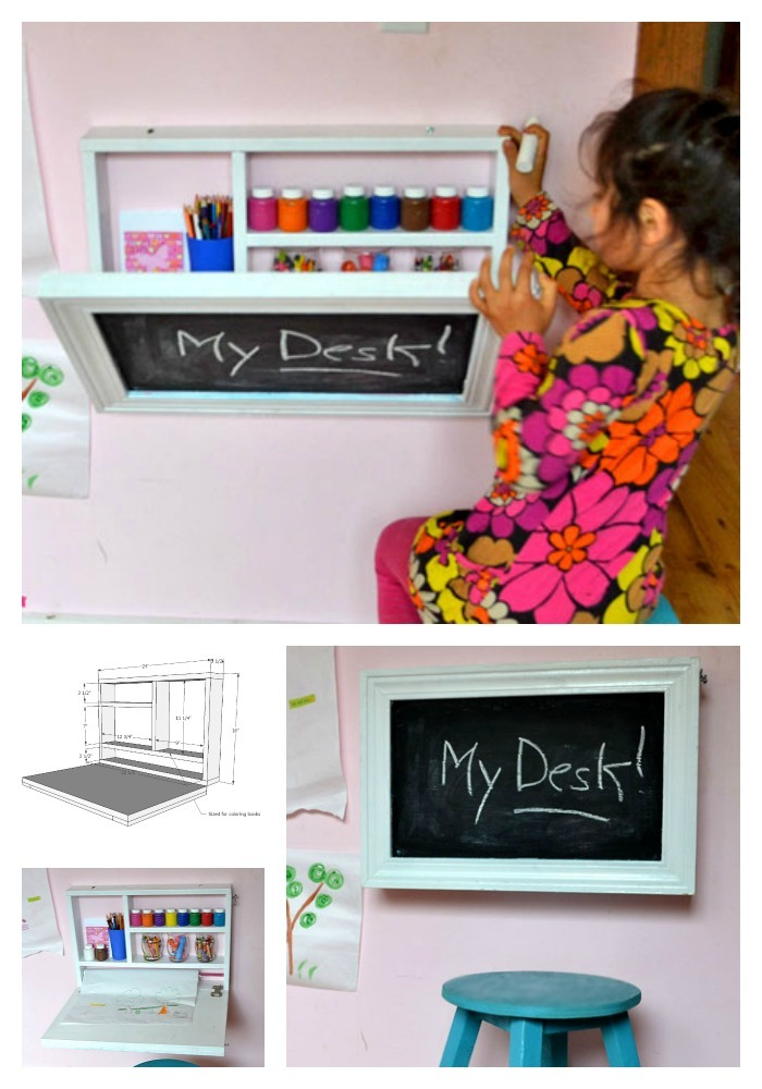 This Do It Yourself Kids Desk Folds Up To Become A Wall Chalkboard S Art Supplies And Even Paper Roll Holder Super Easy Step By Instructions