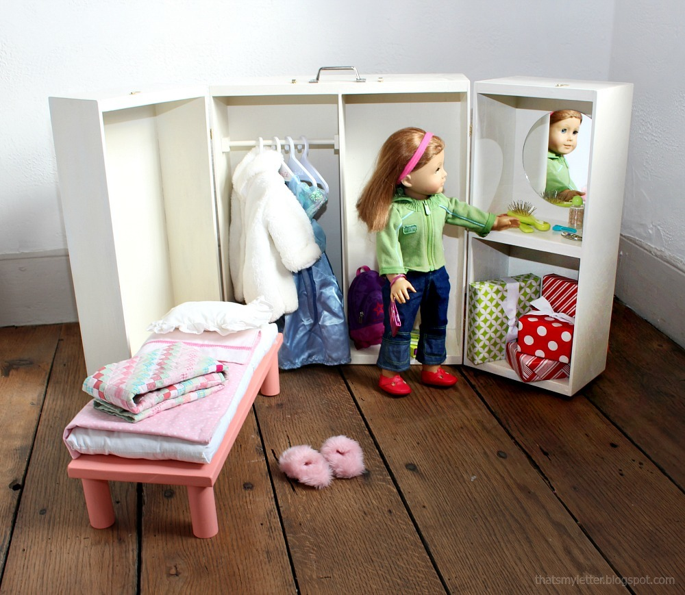 Doll Closet Folding 18 Inch Doll Furniture Storage Trunk With Bed