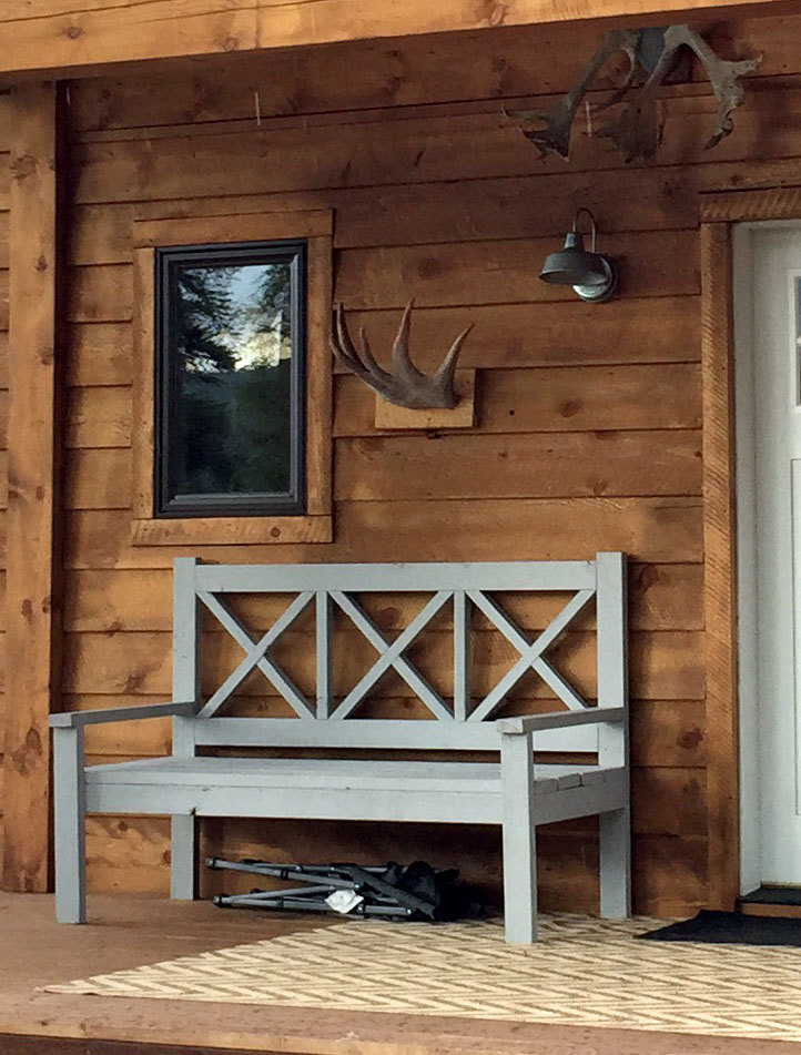 ana white large porch bench alaska lake cabin diy