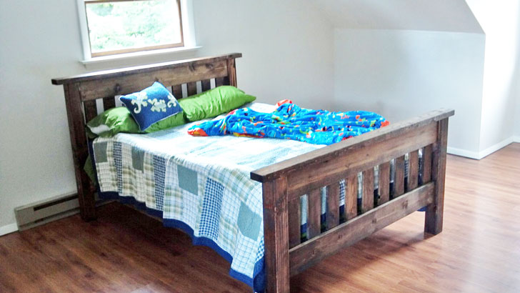 full size bed in mission style - plans by Ana White