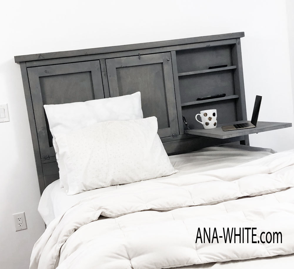 This DIY headboard has fold down tray tables - so you can enjoy breakfast in bed or take care of some laptop work. Free plans by ANA-WHITE.com
