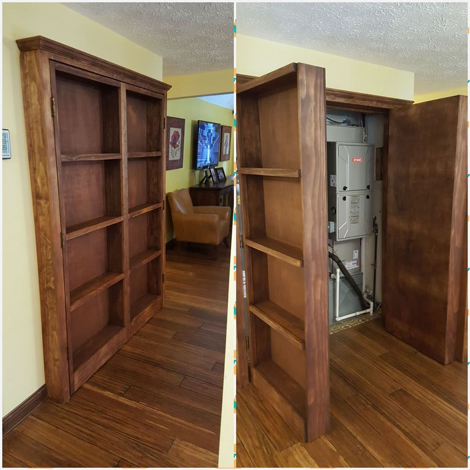 Bookshelf Hidden Doors Over Closet