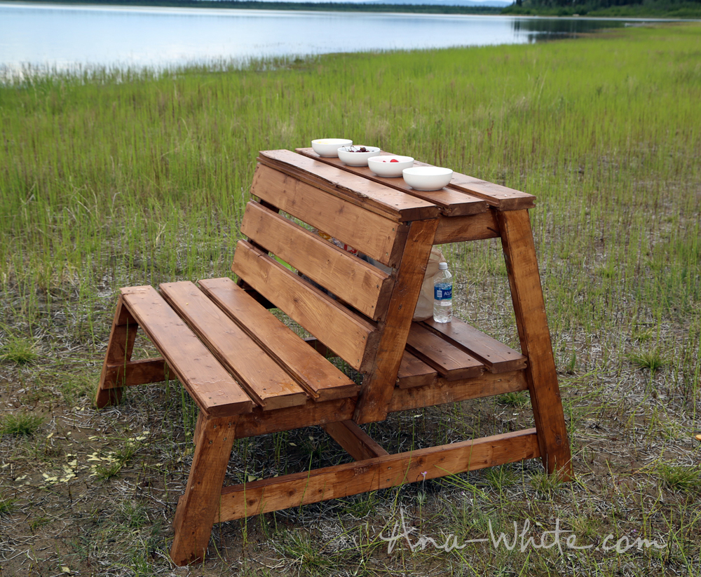 Ana white firepit benches with table and storage diy How to build a garden bench
