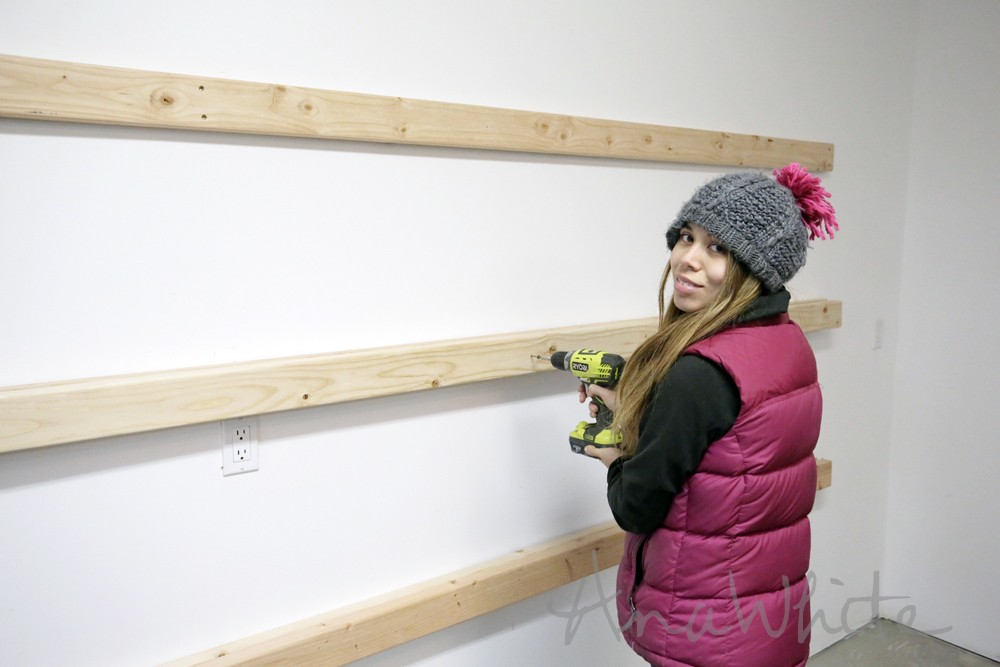 Ana white easy and fast diy garage or basement shelving for Easy diy wall shelf