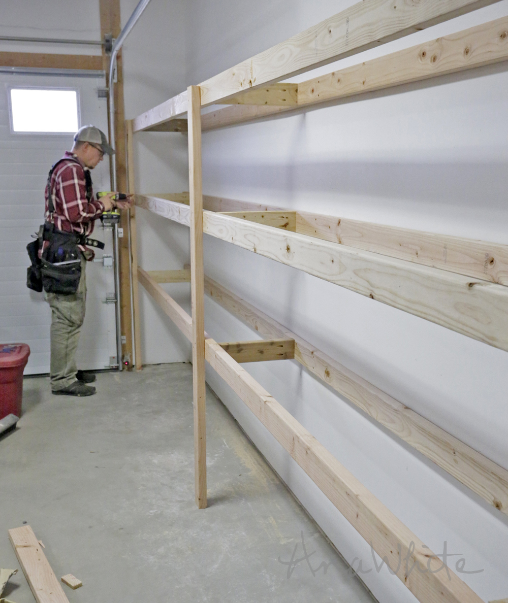 diy garage storage shelves white easy and fast diy garage or basement shelving 14894