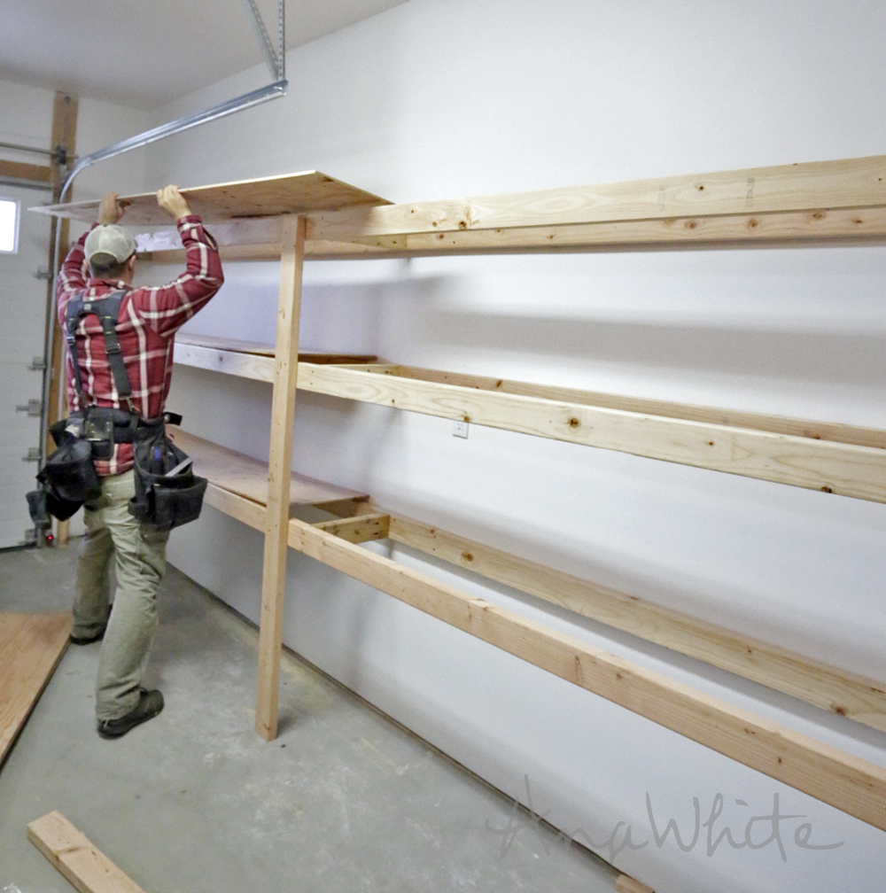 easy and fast diy garage or basement shelving for tote storage. Black Bedroom Furniture Sets. Home Design Ideas