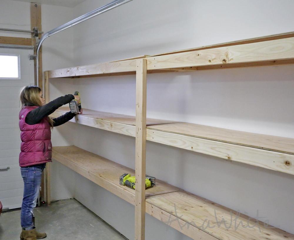 Ana white easy and fast diy garage or basement shelving for Diy 3 car garage