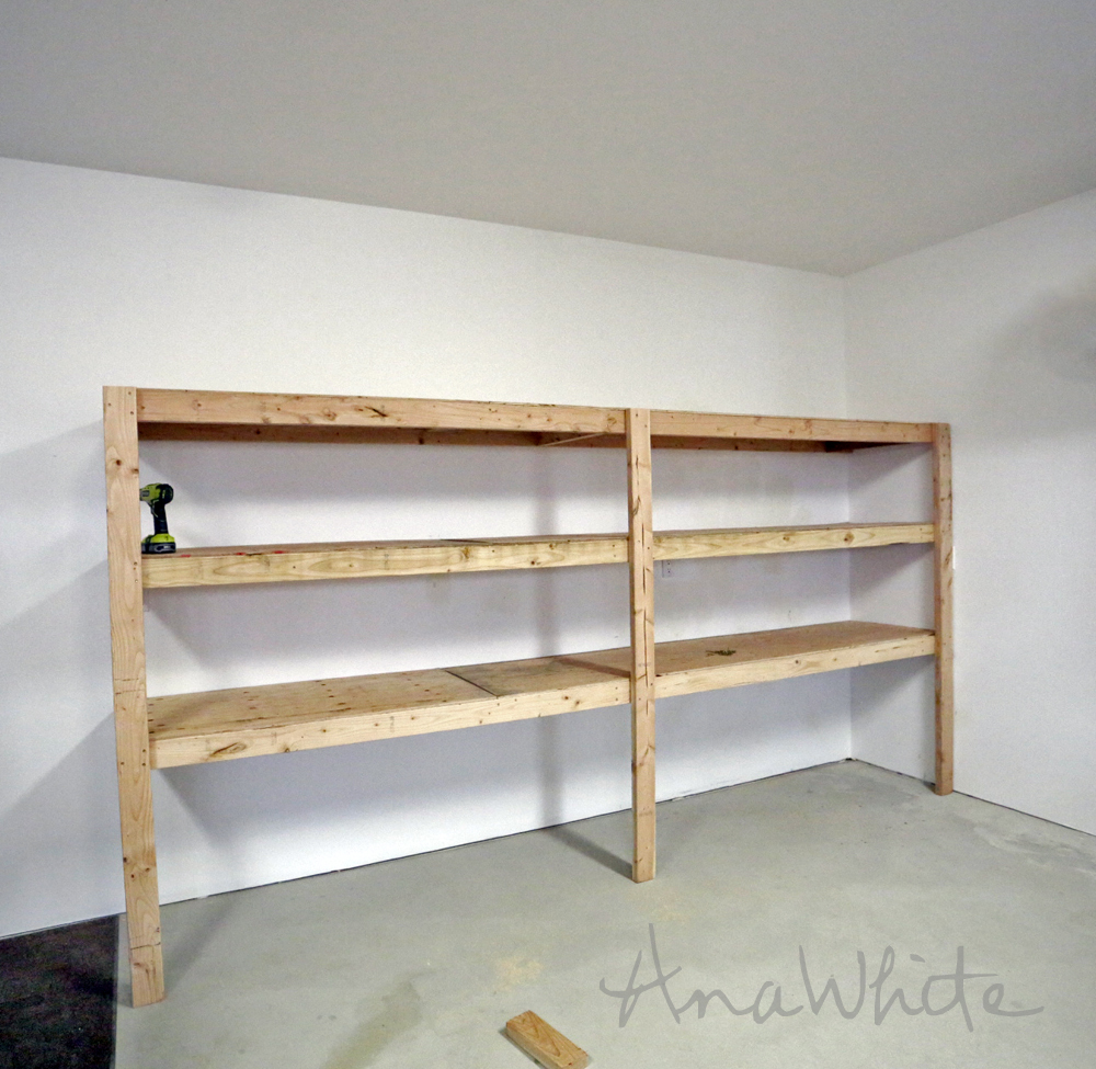 Ana white easy and fast diy garage or basement shelving for Easy diy shelves