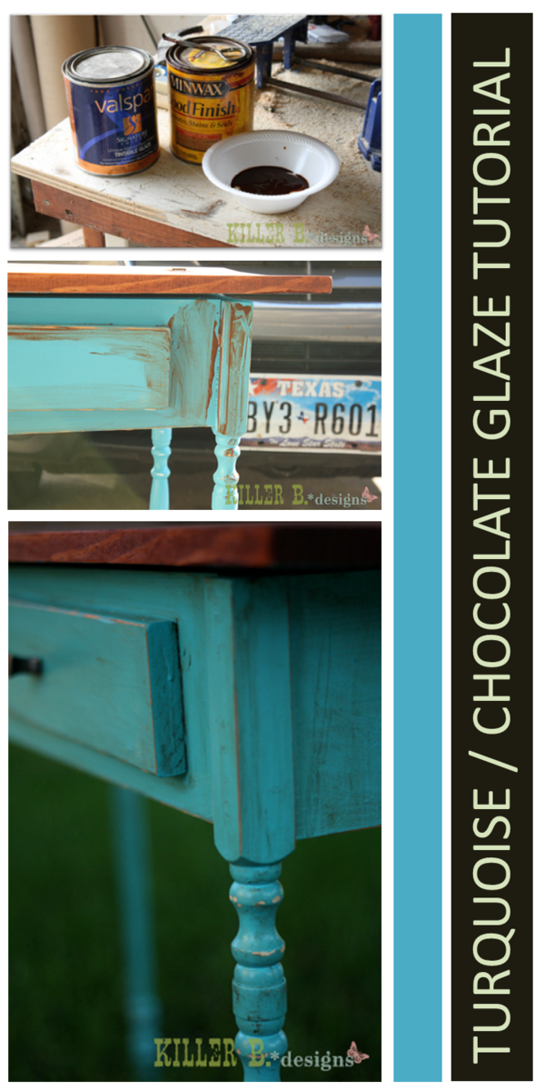 Lovely Distressed Turquoise With Chocolate Glaze