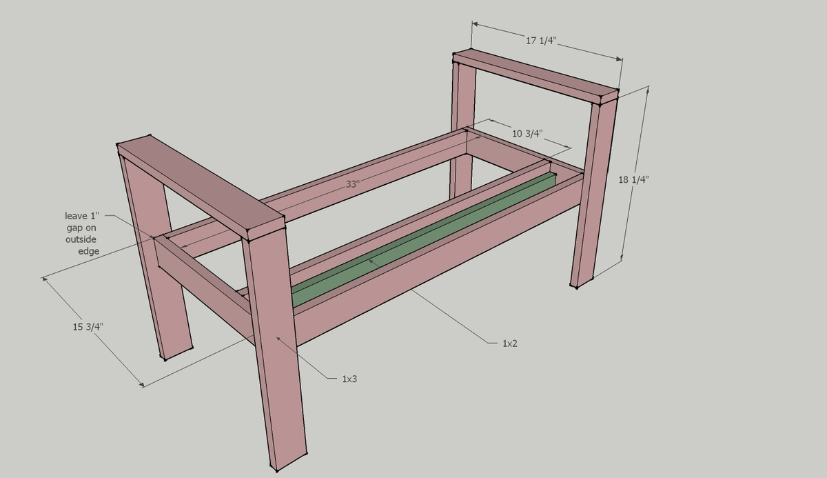 Bedroom bench dimensions - Step 1