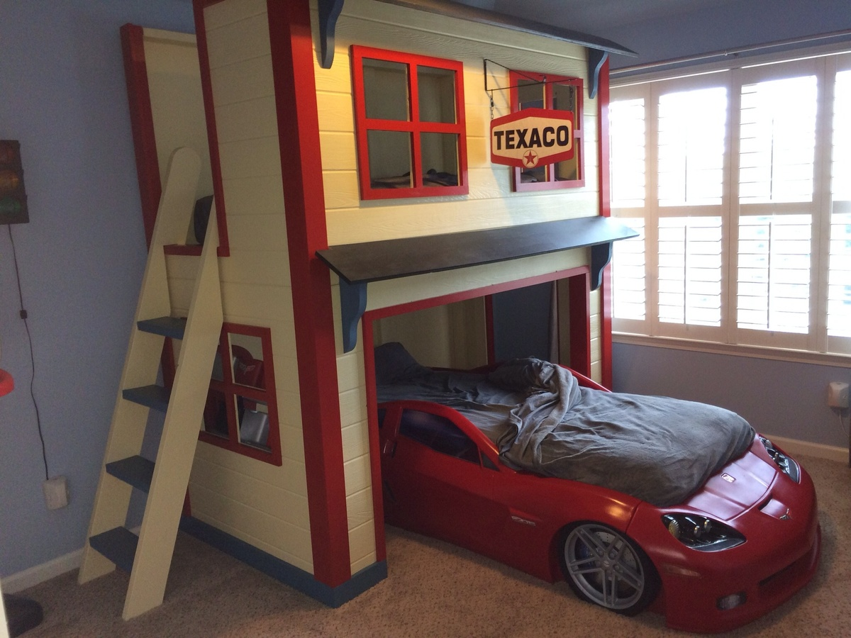 Ana white garage loft bed diy projects for Lofted garage