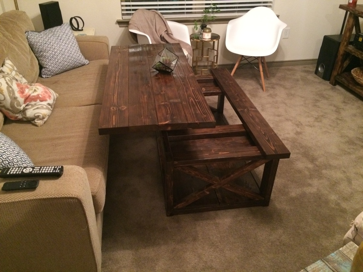 Beau DIY Lift Top Coffee Table   Rustic X Style