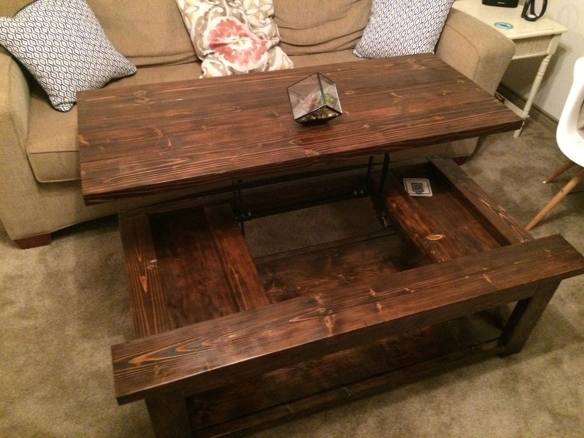 Ana white diy lift top coffee table rustic x style diy projects Lifting top coffee table