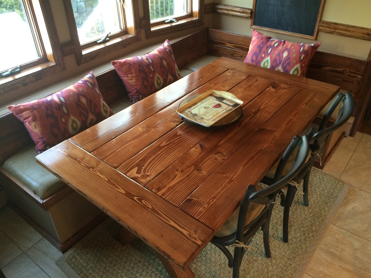 Astonishing Farm Table Kitchen Nook Bench Ana White Caraccident5 Cool Chair Designs And Ideas Caraccident5Info