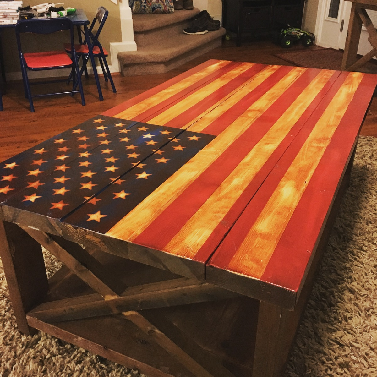 American Flag Rustic X Table
