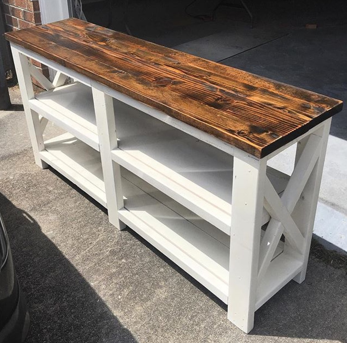 Rustic X Console Table | Ana White