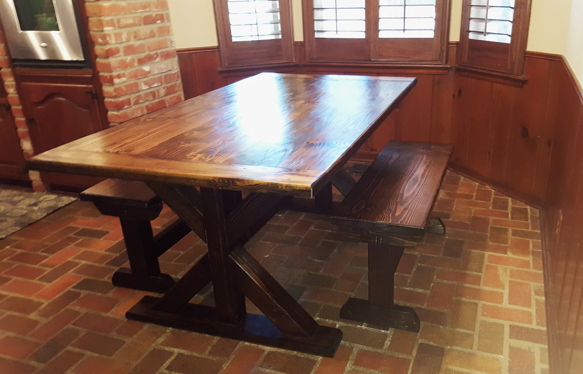 Ana White Breadboard Trestle Table And Benches Diy