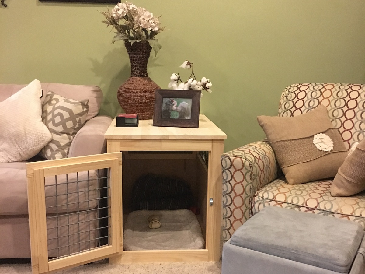 ana white | slightly altered large dog kennel end table - diy projects